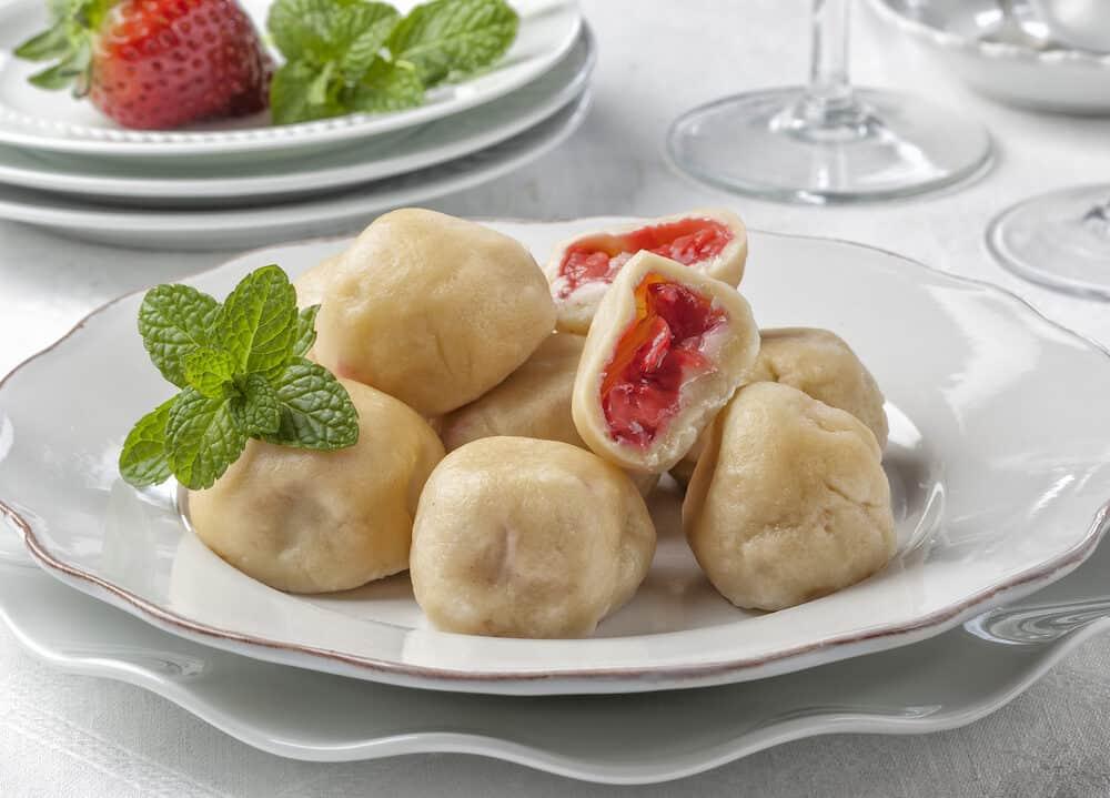 Dumplings (knedliky) (steamed and sliced bread-like) are typical of Czech cuisine.