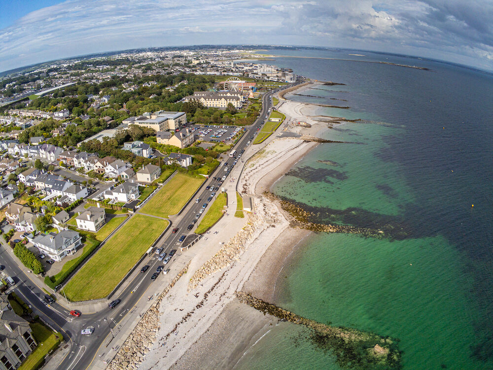 Aerial view of Blackrock beach with Diving tower in Salthill, Galway, Ireland