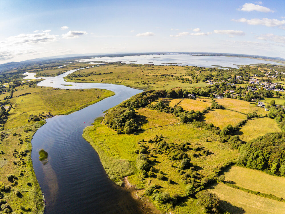 Aerial view of Corrib River and Lough Corrib, Galway, Ireland