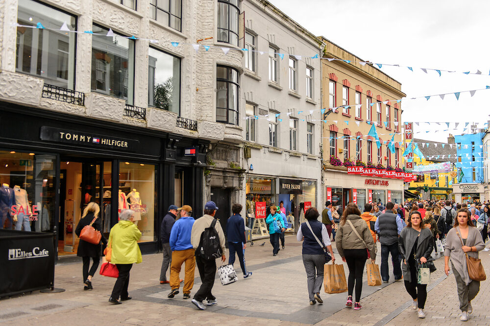 GALWAY IRELAND - : Crowd in the Shop street in Galway Ireland. Galway will be European Capital of Culture in 2020