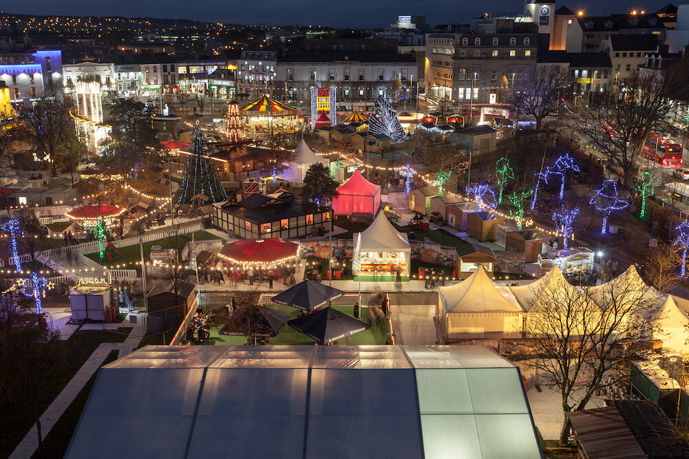 GALWAY - Panoramic view of Annual Galway Continental Christmas Market in Galway Ireland.