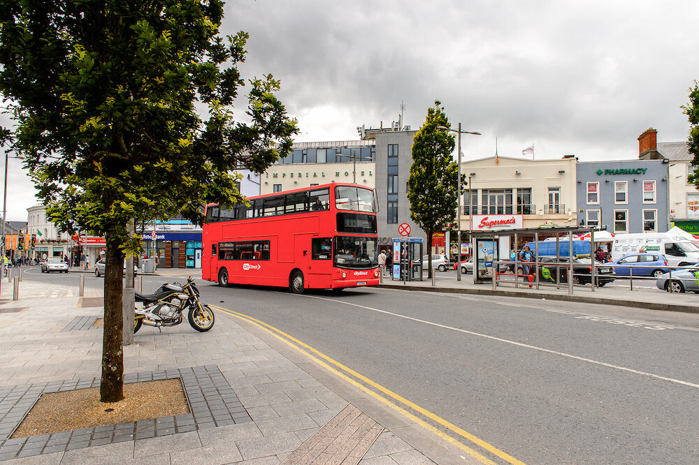 GALWAY IRELAND - Red bus in Galway Ireland. Galway will be European Capital of Culture in 2020