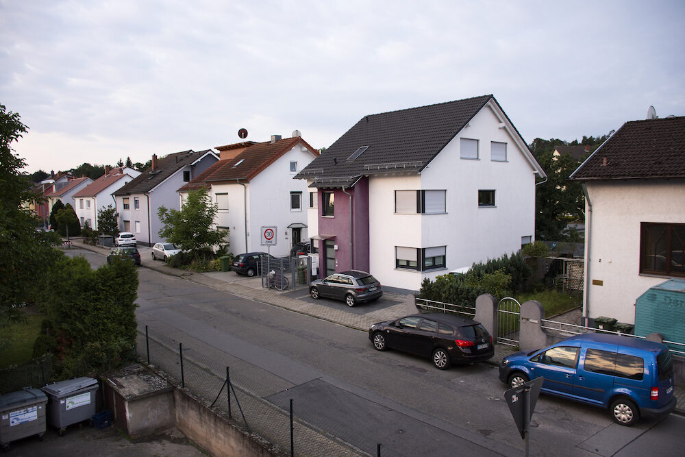 View landscape and cityscape with traffic road of Sandhausen district and village at morining at Heidelberg in Baden-Wurttemberg, Germany