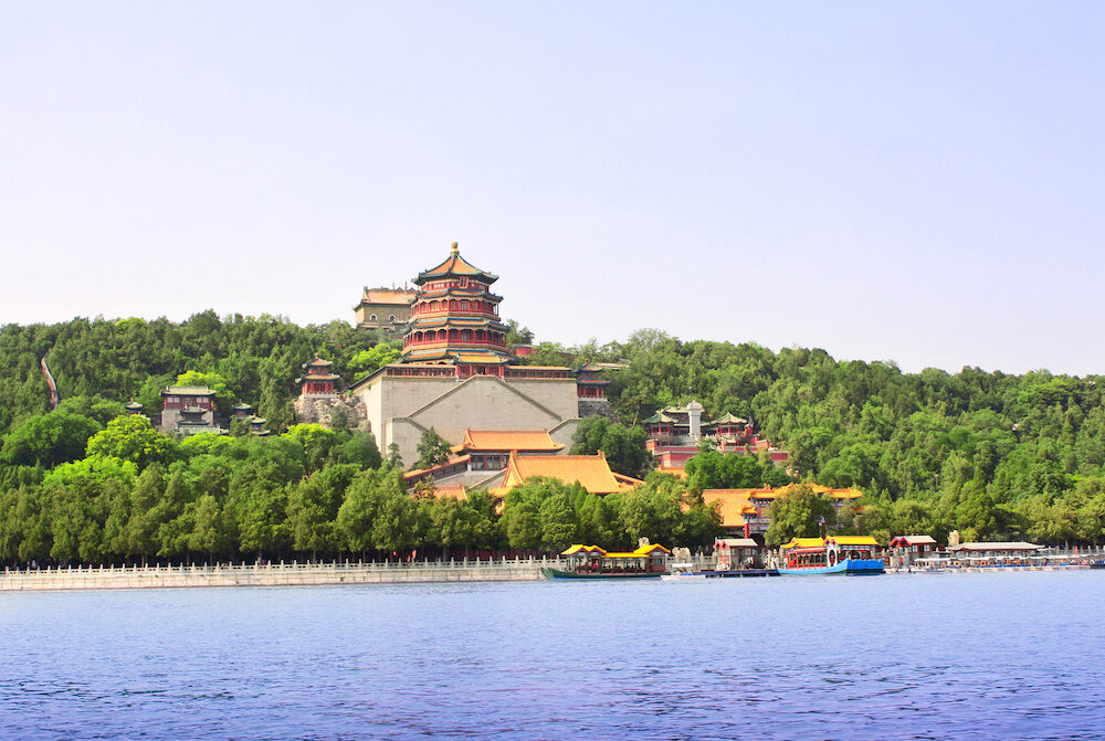 Imperial Summer Palace in Beijing, China. Longevity Hill on the Kunming Lake, Summer Palace complex, an Imperial Garden in Beijing. UNESCO World Heritage site