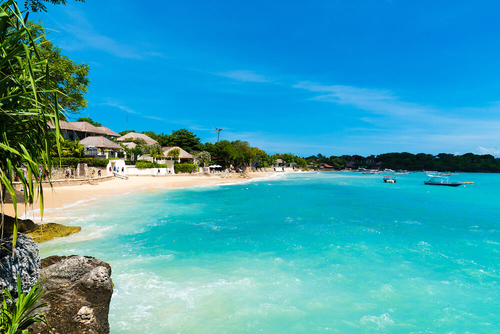 Bali Indonesia - Lembongan tropical island is a main popular balinese attraction famous for the clear aqua blue water and activities like diving and snorkelling in Bali Indonesia.