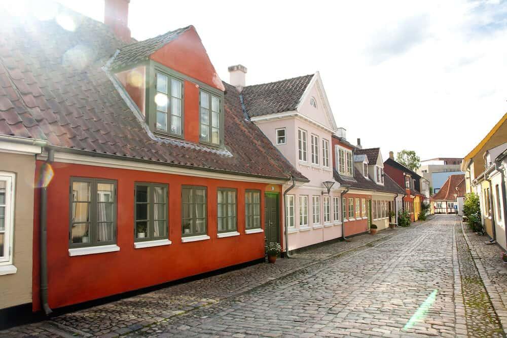 Old town of Odense, Denmark. Hans Christian Andersen's hometown. Odense, Denmark.