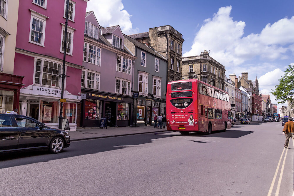 Oxford, UK - Beautiful view of High Street at summer sunny day