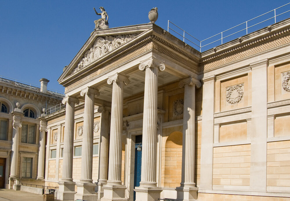 Imposing portico entrance of Oxford's famous Ashmolean Museum.