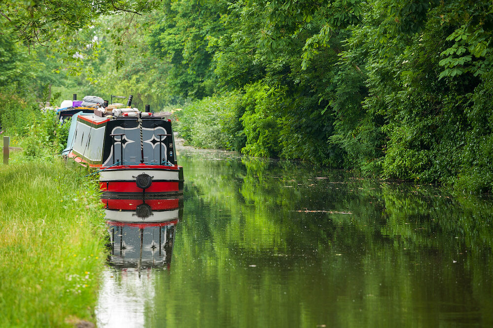 Narrowboats on the Oxford Canal at Oxford. Oxfordshire England UK