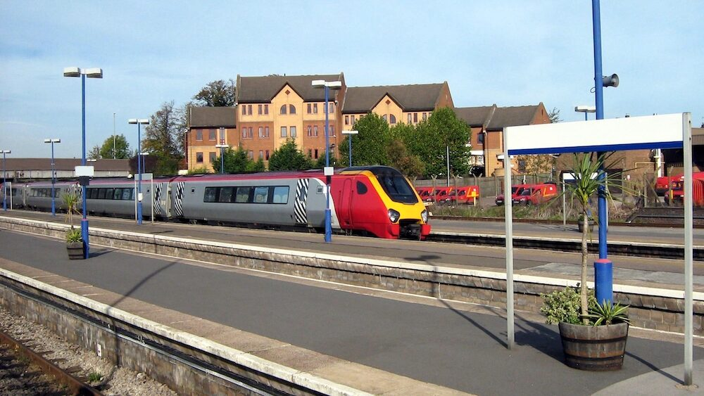 Oxford, England-Virgin Train service in Oxford. Virgin Train is serving the public in the station route North Mainline, Wales, and Scotland, located in Oxford, Oxfordshire, England.