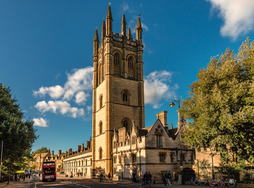 Oxford / UK - View of the Magdalen College in High St. The large, square Magdalen Tower is an Oxford landmark.