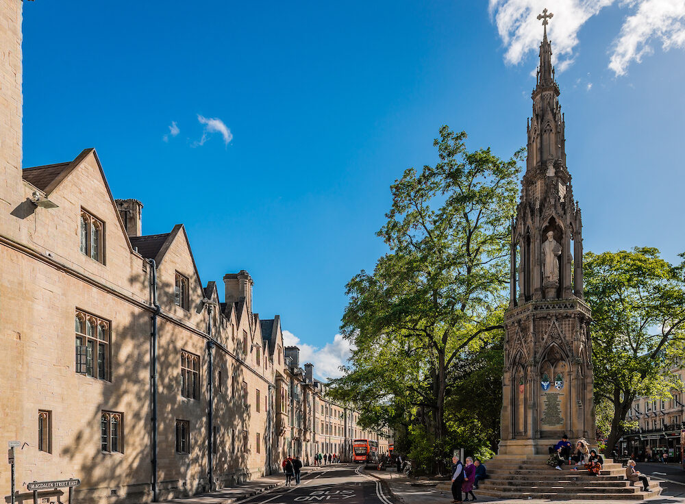 Oxford / UK - View of the Magdalen st. East, with the Balliol college on the left and the Martyrs Memorial on the right.