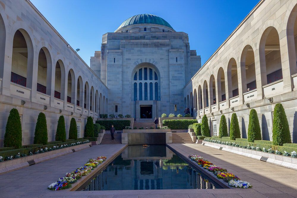 CANBERRA, AUSTRALIA, - The Australian War Memorial view. It is Australias national memorial to Australians who have died or participated in the wars.