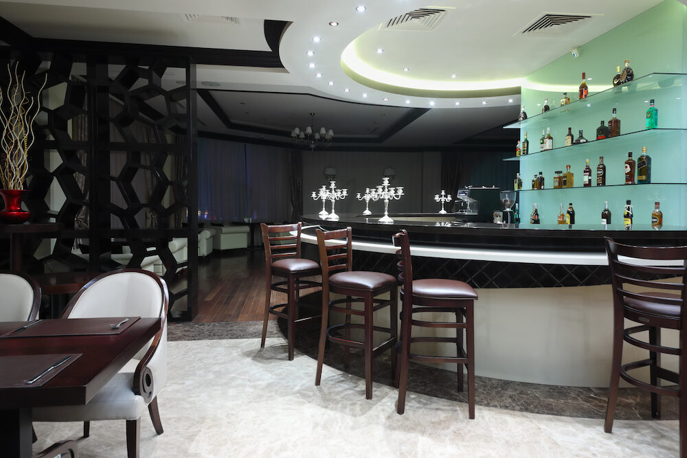 YEREVAN, ARMENIA - : Bar in restaurant in Hotel National, created in business style, comfortable hotel allows every guest to feel welcome