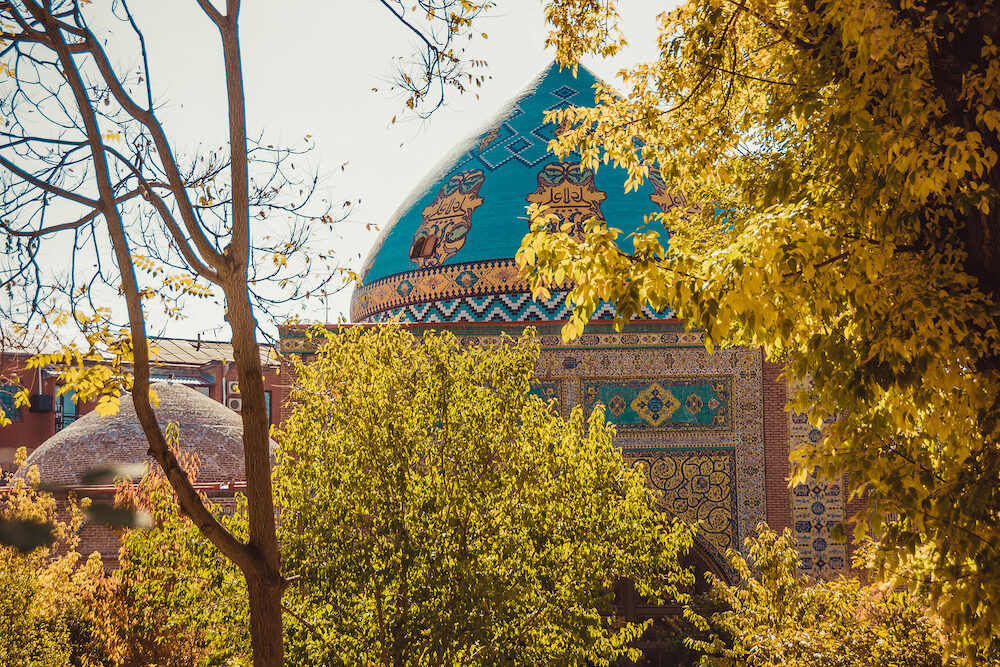 Blue mosque. Elegant islamic masjid building. Travel to Armenia, Caucasus. Touristic architecture landmark. Sightseeing in Yerevan. City tour. Tourism industry. Sunny autumn day. Religious concept
