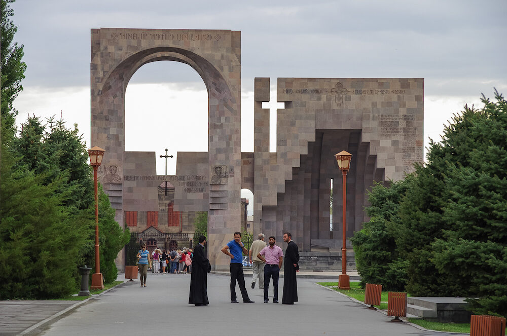 Vagharshapat, Armenia - Main entrance in Etchmiadzin monastery complex