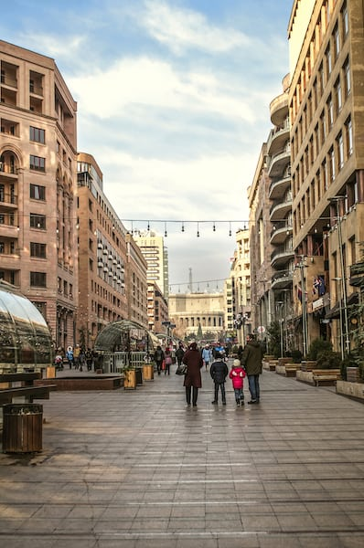 Yerevan, Armenia - Northern Avenue, paved with tiles for pedestrian traffic leading to the Opera house, in the capital of Armenia Yerevan