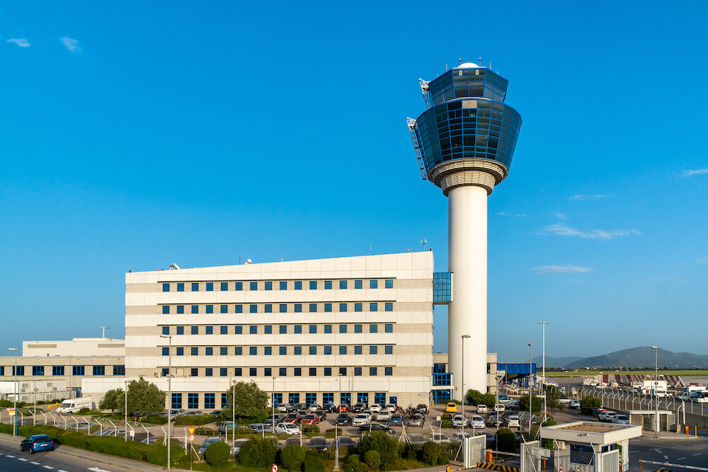 Athens, Greece - Air Traffic Control Tower of Athens International Airport, travel