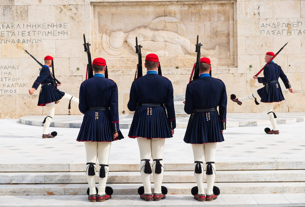 Athens, Greece - Changing of the presidential guard called Evzones in front of the Monument of the Unknown Soldier, next to the Greek Parliament, Syntagma square
