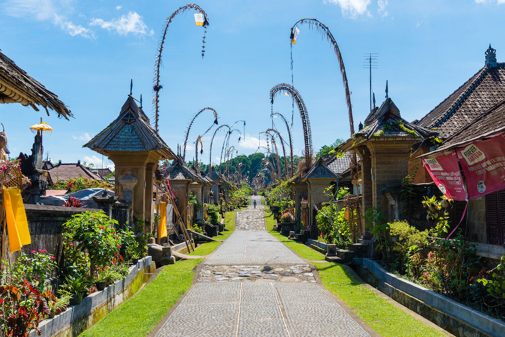 Bali Indonesia - Penglipuran village best known for its well-preserved culture and village layout with traditional houses in Bali Indonesia