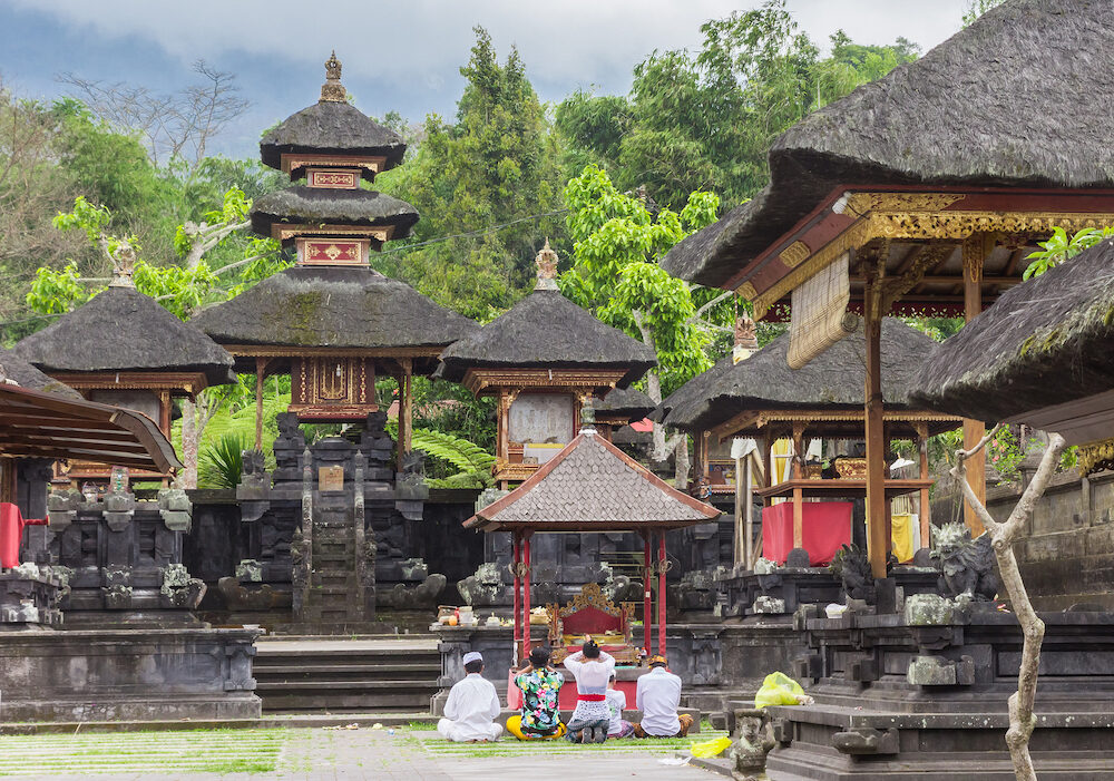 KARANGASEM, INDONESIA People praying at the Besakih temple on Bali, Indonesia