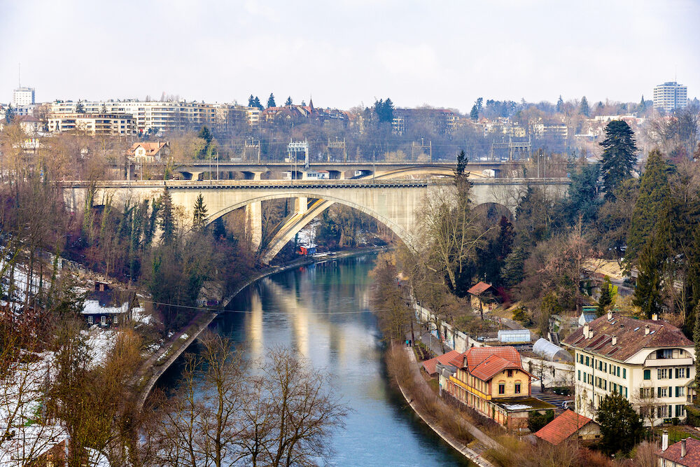 Lorrainebrucke and Lorraineviadukt bridges in Bern - Switzerland