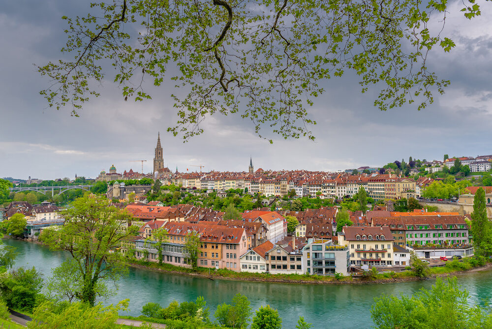 Cityscape Capital City of Bern, Switzerland, Panoramic Scenery Old Town City View and Swiss Architectural Historical Building in Bern. Architecture Housing and Residential at Sunset Scene of Berne