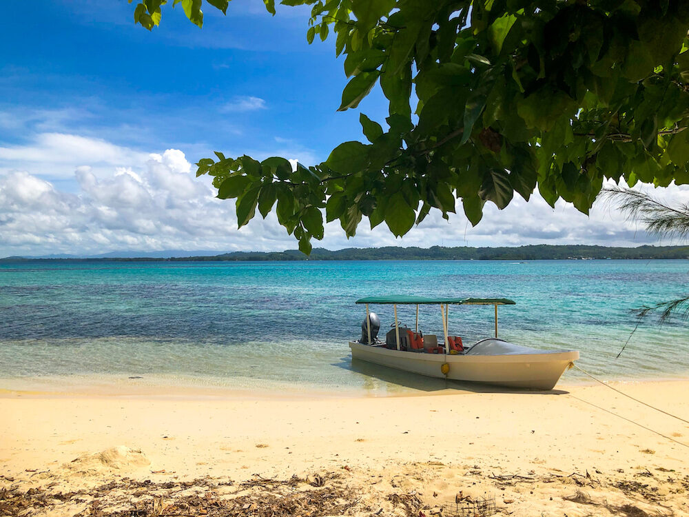 Boats parked at Hopei island Solomon Islands