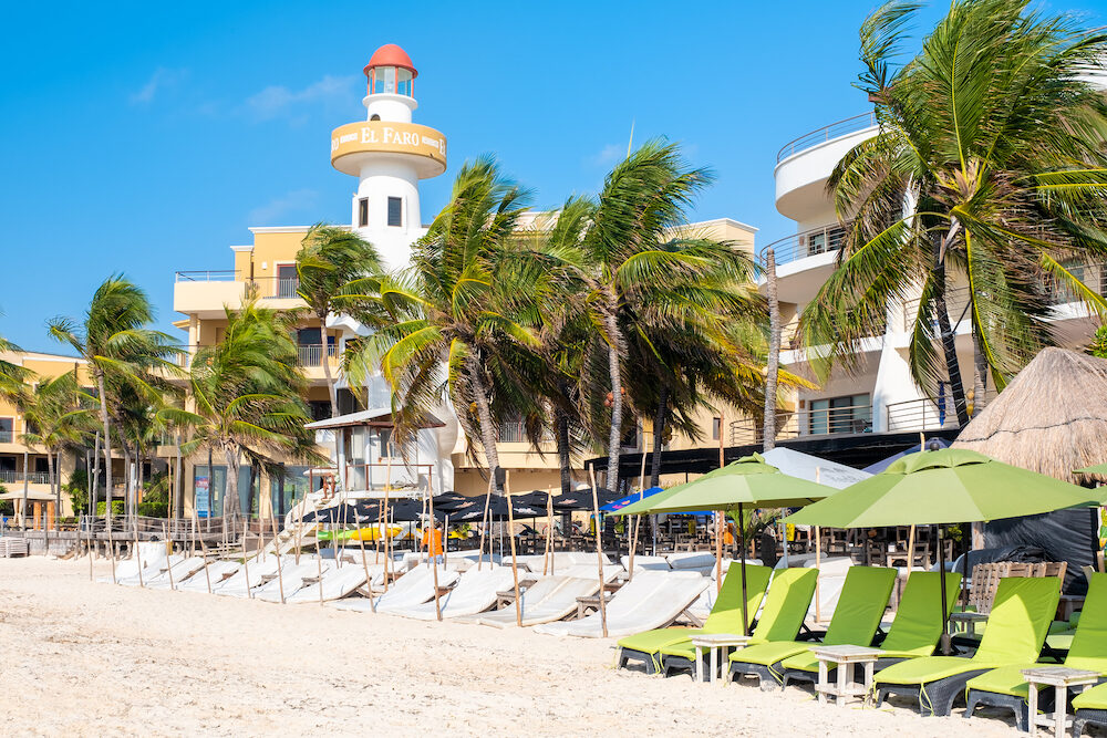 PLAYA DEL CARMEN,MEXICO - Beach Club by the seaside at the touristic city of Playa del Carmen on the Mayan Riviera
