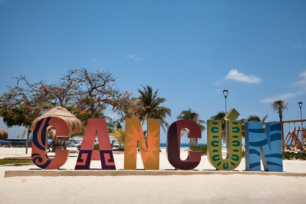 Cancun - Cancun sign on the beach in Cancun Mexico. Cancun is very famous place for vacation