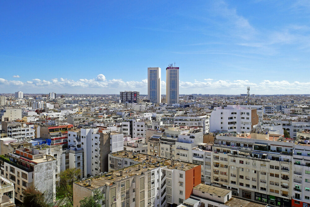 CASABLANCA, MOROCCO Panoramic aerial view of casablanca, with Twin center Towers, Morocco. in Casablanca in Morocco.