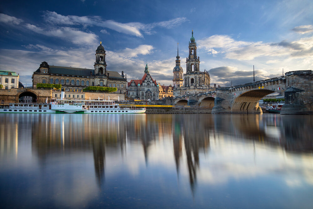 Dresden, Germany. Cityscape image of Dresden, Germany with reflection of the city in the Elbe river, during sunset.