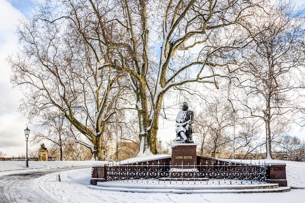 Snowy park in Dresden - winter landscape