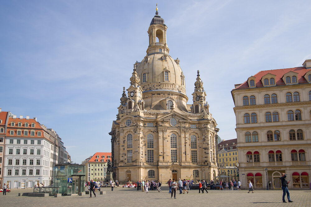 DRESDEN, GERMANY - View of the Church of the Virgin (Frauenkirche) on a sunny April day