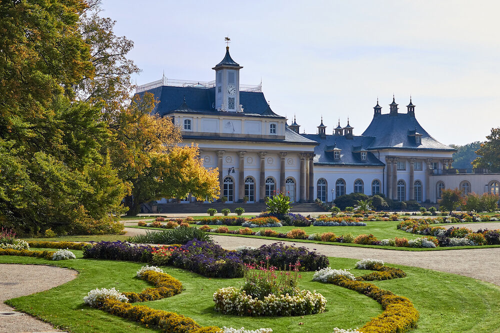 Dresden, Germany - sightseeings of Germany. Historical buildings and streets of Dresden. Pillnitz Castle is a palace at the eastern of Dresden in the German state of Saxony.