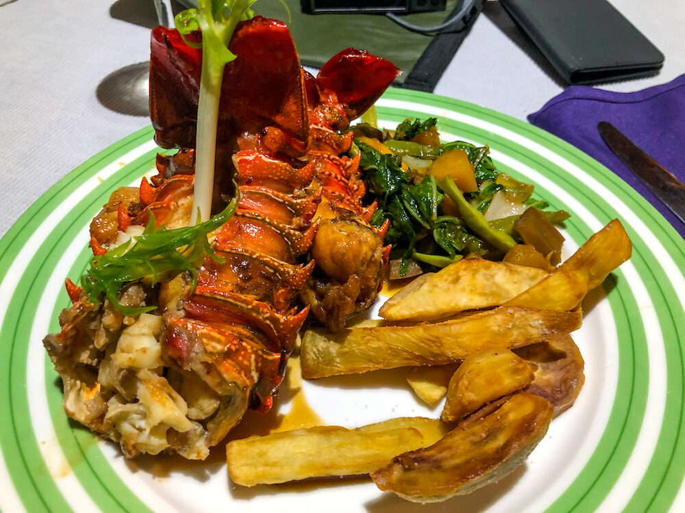 Fresh Crayfish served at the Fats boys resort in Solomon Islands