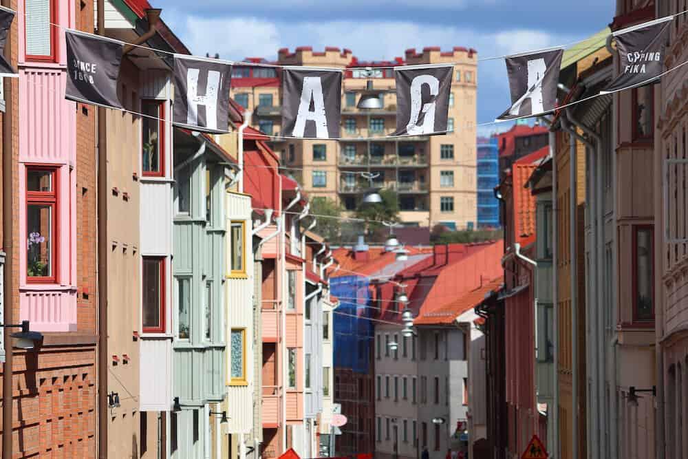 GOTHENBURG, SWEDEN - Haga district sign in Gothenburg, Sweden. Gothenburg is the 2nd largest city in Sweden.