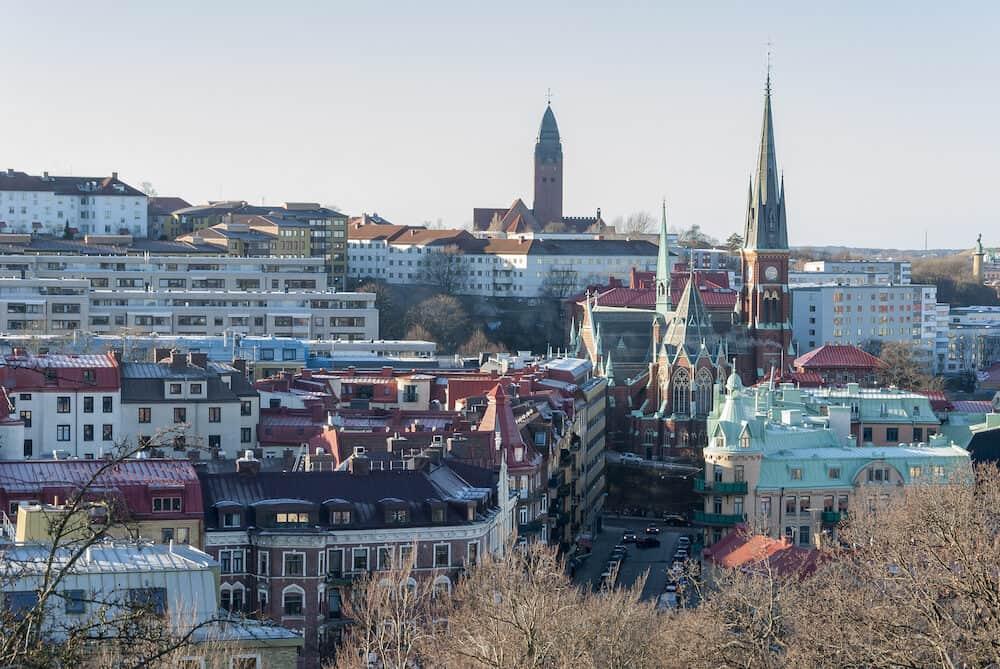 Linnestaden district in Gothenburg in winter, travel Sweden