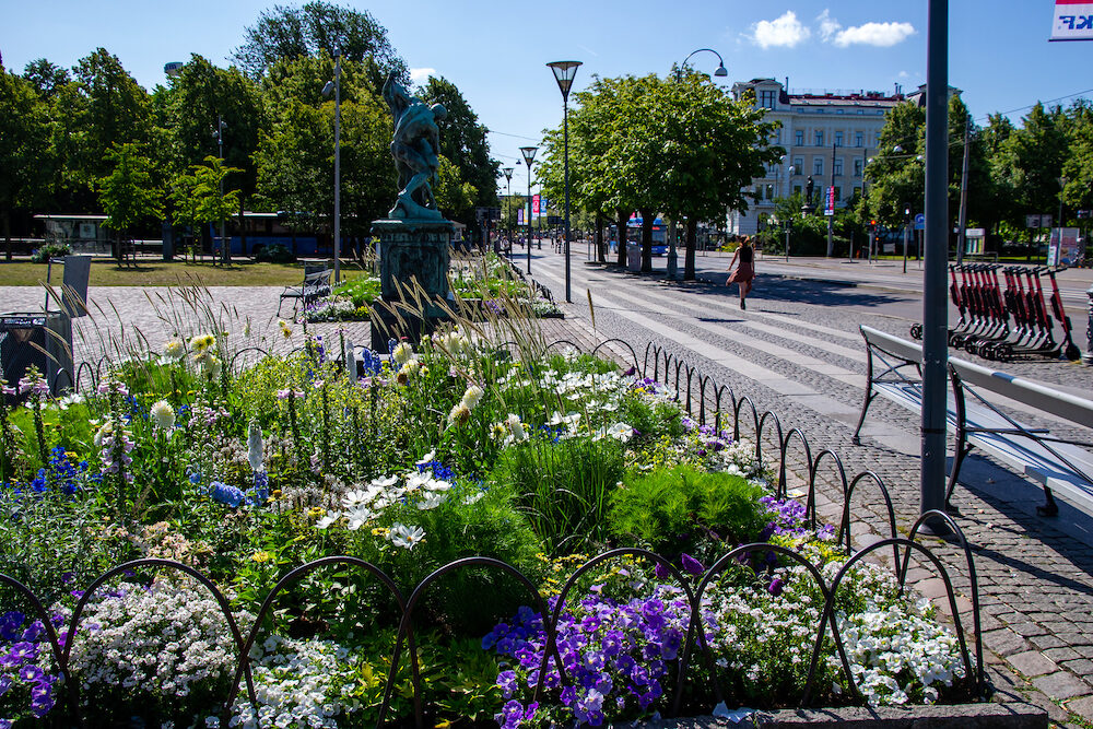 Gothenburg / Sweden - Summer in the city, flowerbeds on the street Avenyn (The Avenue).