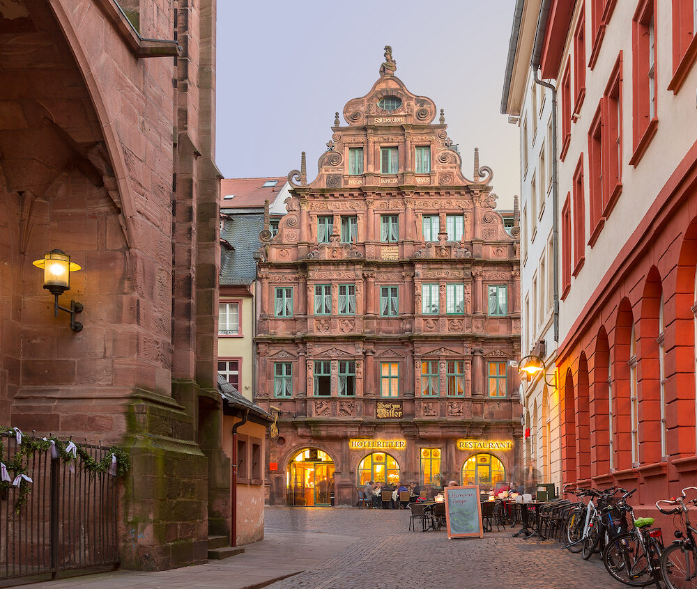 HEIDELBERG GERMANY - Diners at Hotel Ritter restaurant in old town. The ornate hotel was built in 1592