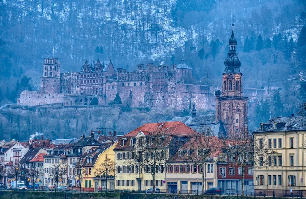 Heidelberg castle and old city in winter season