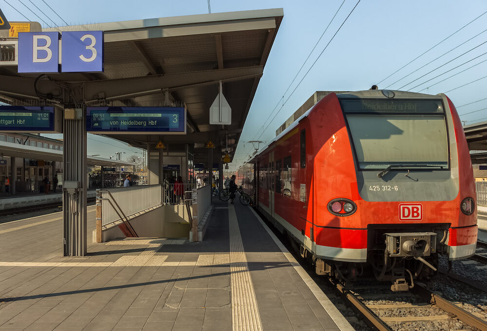HEILBRONN,GERMANY - :Main station This is an outdoor platform and a train stops.This line rides regularly between Heilbronn and Heidelberg.