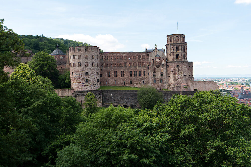 HEIDELBERG, GERMANY - Heidelberg Castle is a ruin in Germany and landmark of Heidelberg. The castle ruins are among the most important Renaissance structures north of the Alps.