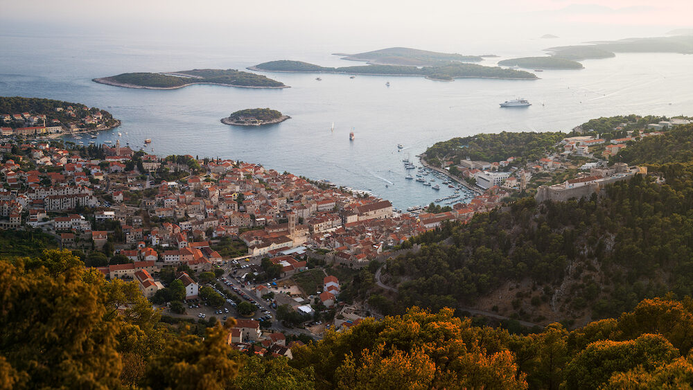 Historical Center Spanjola / Fortica Fortress and Port of City of Hvar with Pakleni / Paklinski Islands in the Background, Hvar Island, Dalmatia, Croatia