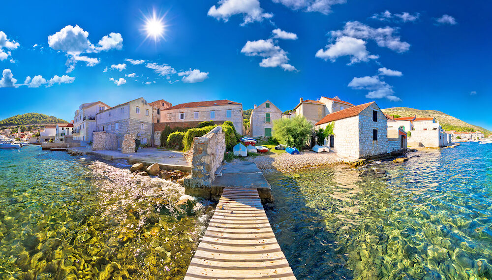 Island town of Vis idyllic waterfront view archipelago of Dalmatia Croatia