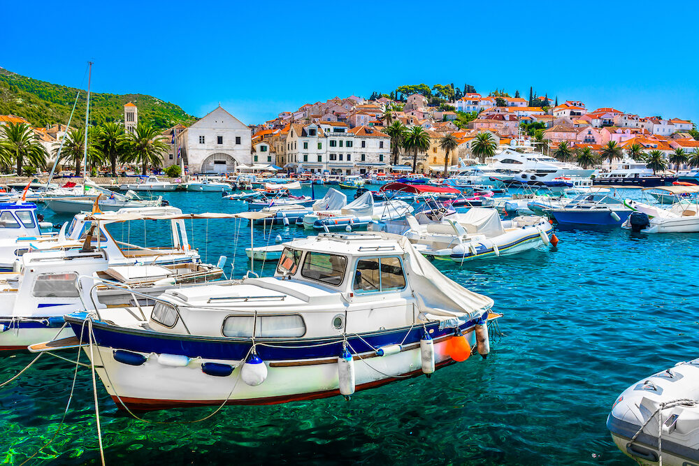 Seafront view at Mediterranean summer scenery in Southern Croatia, Island Hvar luxury tourist resort.