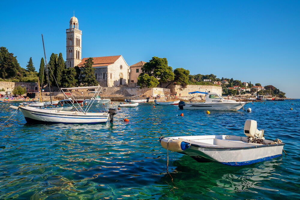 Franciscian monastery in Hvar Town in Croatia. Hvar Town is the famous town for summer beach vacation on Hvar Island in Dalmatia, Croaita.