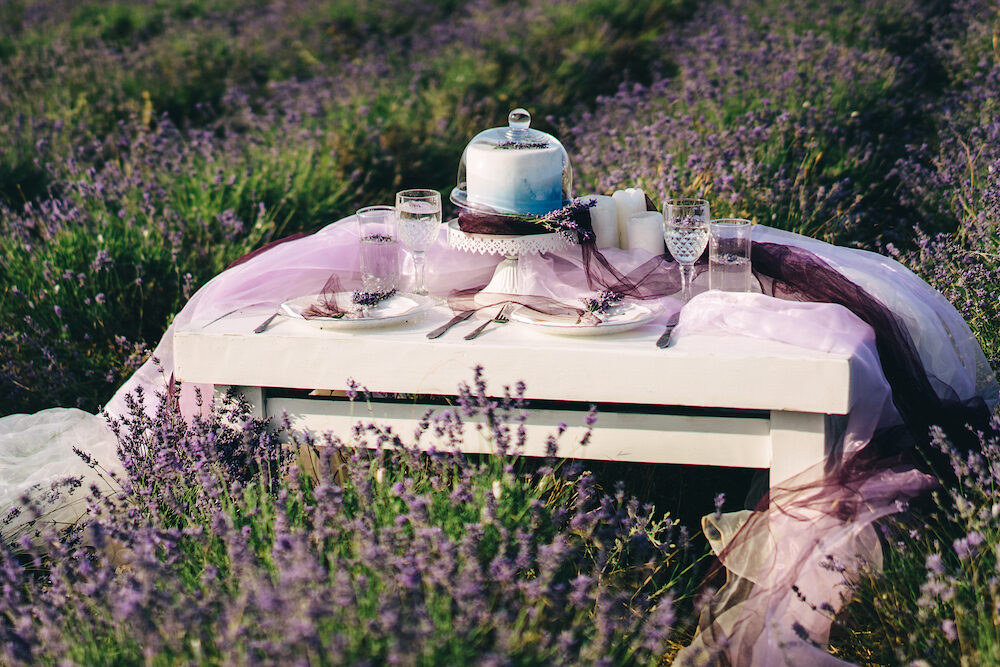 wedding table with a cake and candles standing in a lavender field. Wedding concept