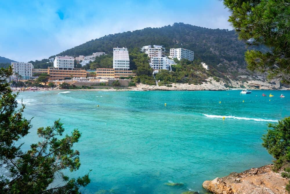 Ibiza Cala Llonga beach in Santa Eulalia in Balearic islands of Spain