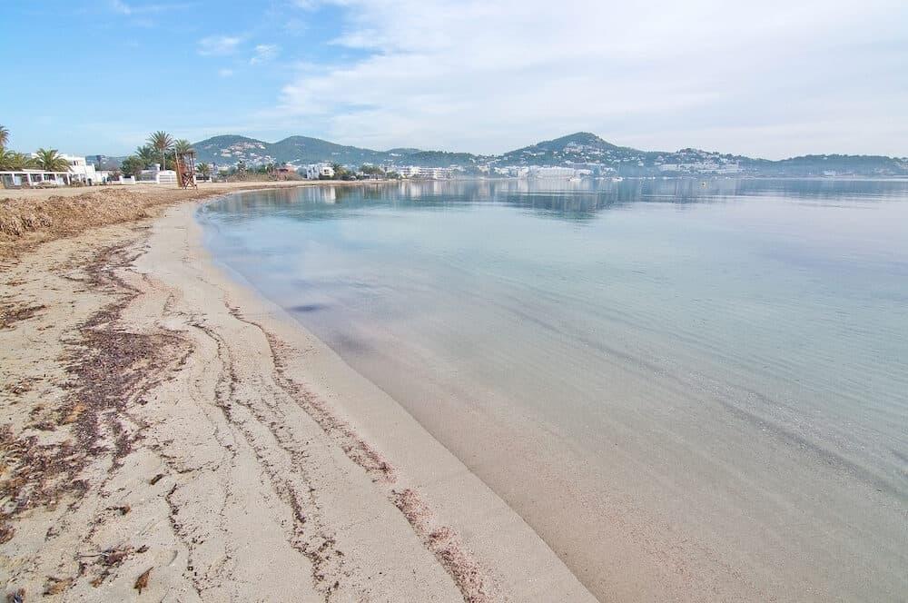 IBIZA BALEARIC ISLANDS SPAIN - Peaceful Talamanca beach on a sunny winter morning in Ibiza Balearic islands Spain